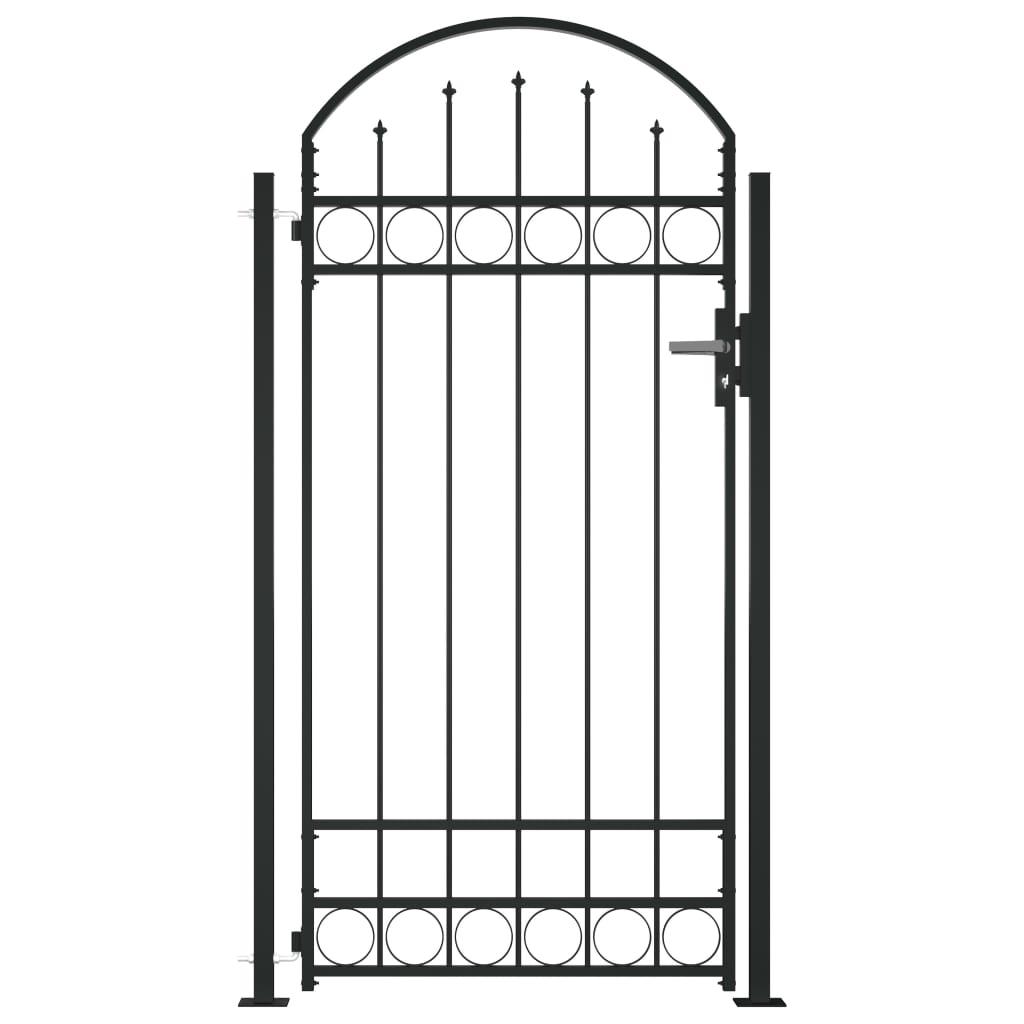 vidaXL Poartă de gard cu vârf arcuit și 2 stâlpi, negru, 105 x 204 cm vidaxl.ro
