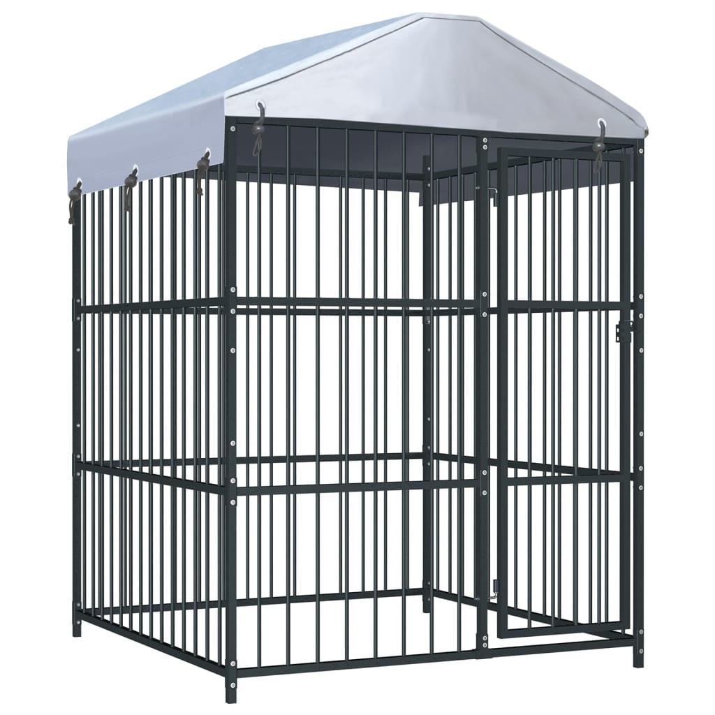 vidaXL Padoc pentru câini de exterior, cu acoperiș, 150 x 150 x 210 cm imagine vidaxl.ro