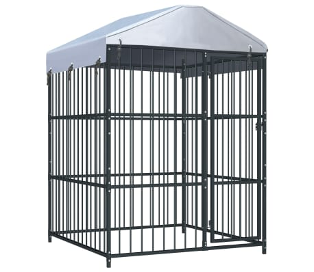 "vidaXL Outdoor Dog Kennel with Roof 59.1""x59.1""x82.7"""