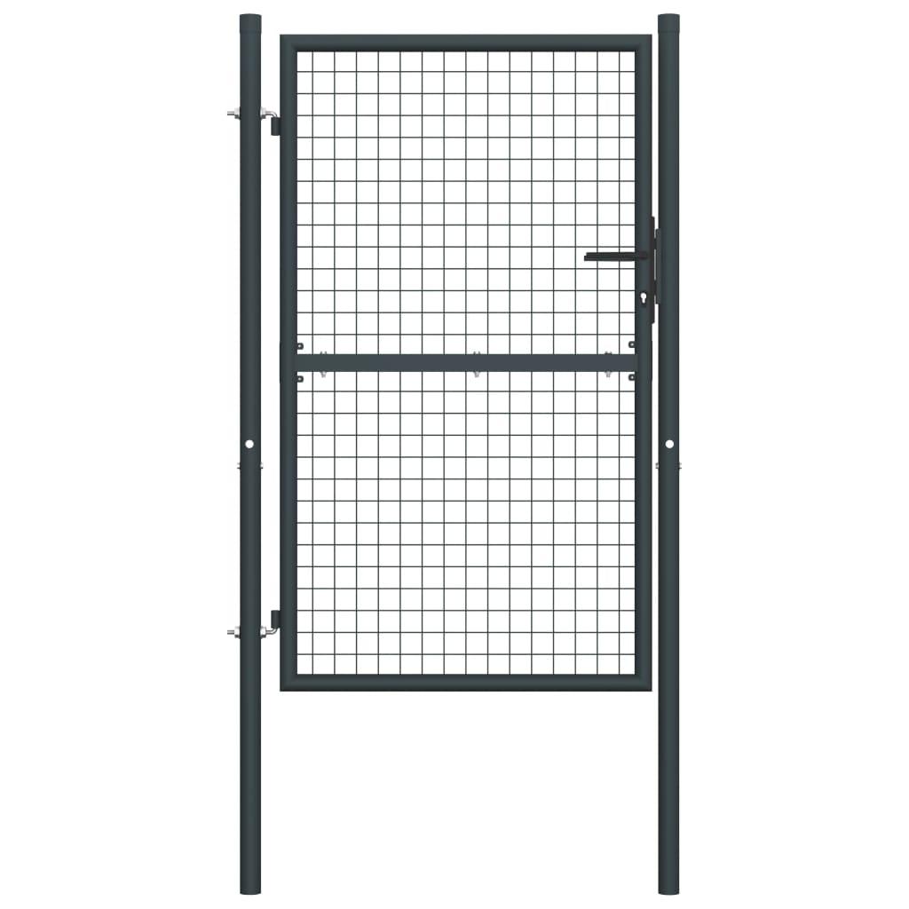 vidaXL Poartă de gard din plasă, gri, 100 x 225 cm, oțel galvanizat vidaxl.ro