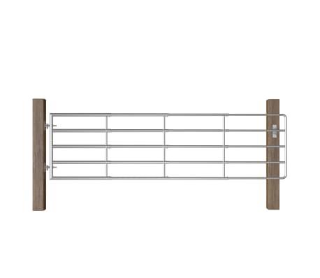 vidaXL Portillon à 5 barres Acier (115-300)x90 cm Argenté