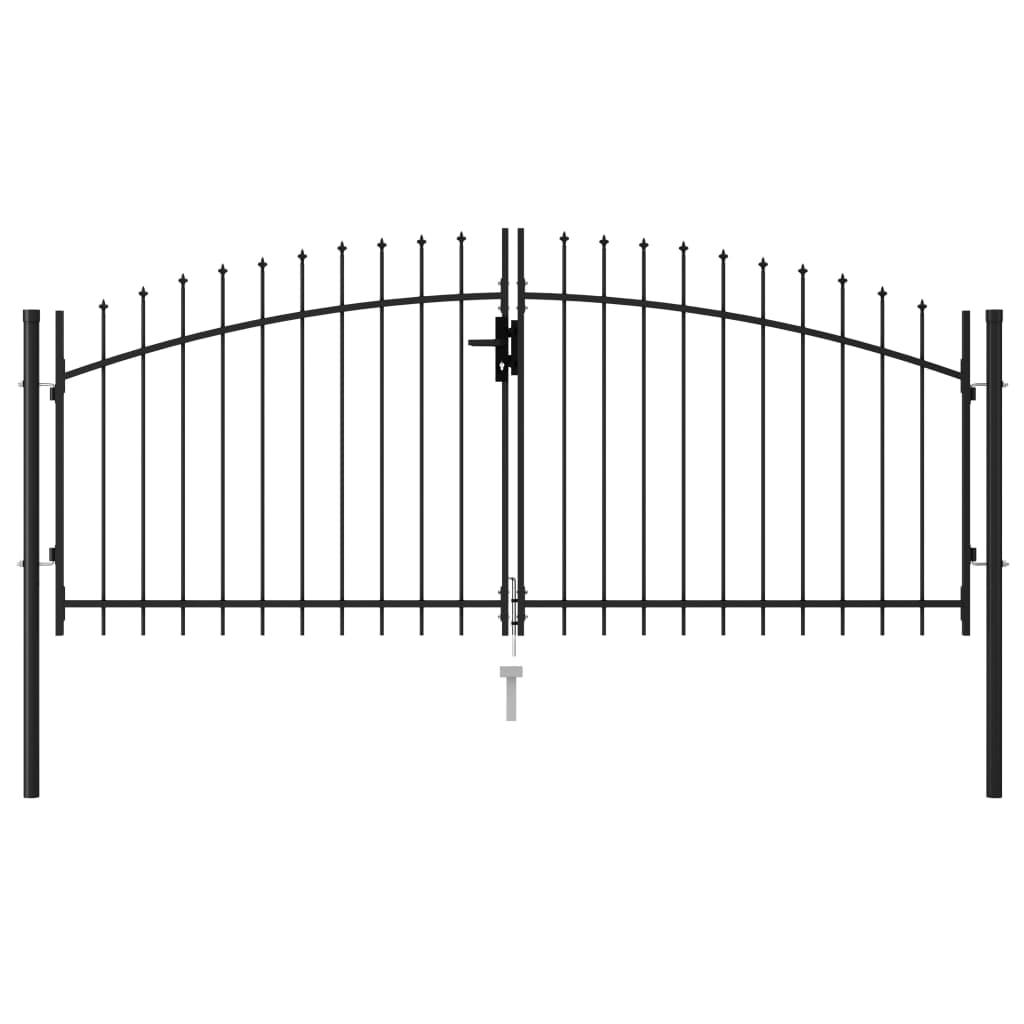 vidaXL Poartă de gard cu ușă dublă vârf ascuțit negru 3x1,25 m oțel imagine vidaxl.ro