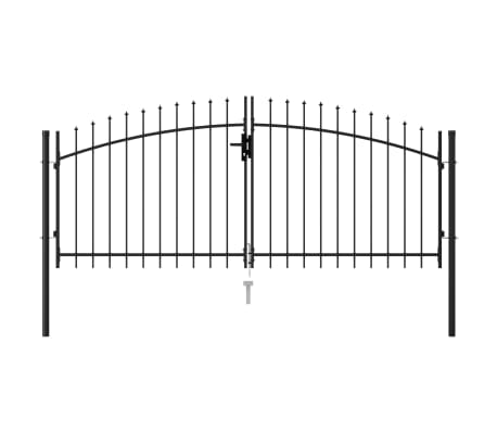 vidaXL Fence Gate Double Door with Spike Top Steel 3x1.25 m Black