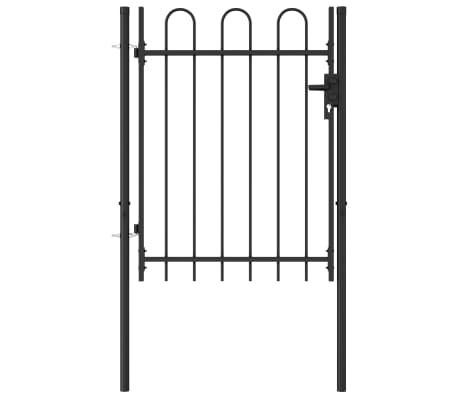 vidaXL Poort met gebogen bovenkant enkel 1x1,2 m staal zwart