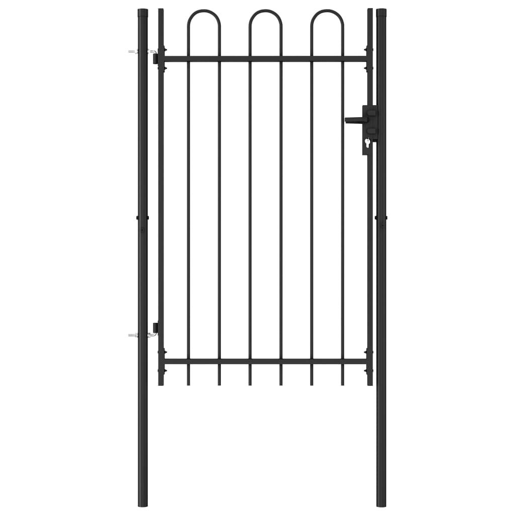 vidaXL Poartă de gard cu o ușă, vârf arcuit, negru, 1 x 1,5 m, oțel vidaxl.ro