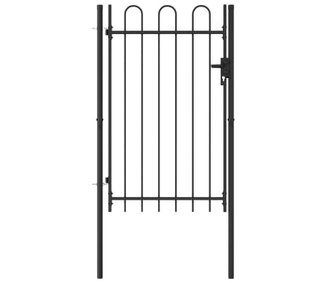 vidaXL Fence Gate Single Door with Arched Top Steel 1x1.5 m Black