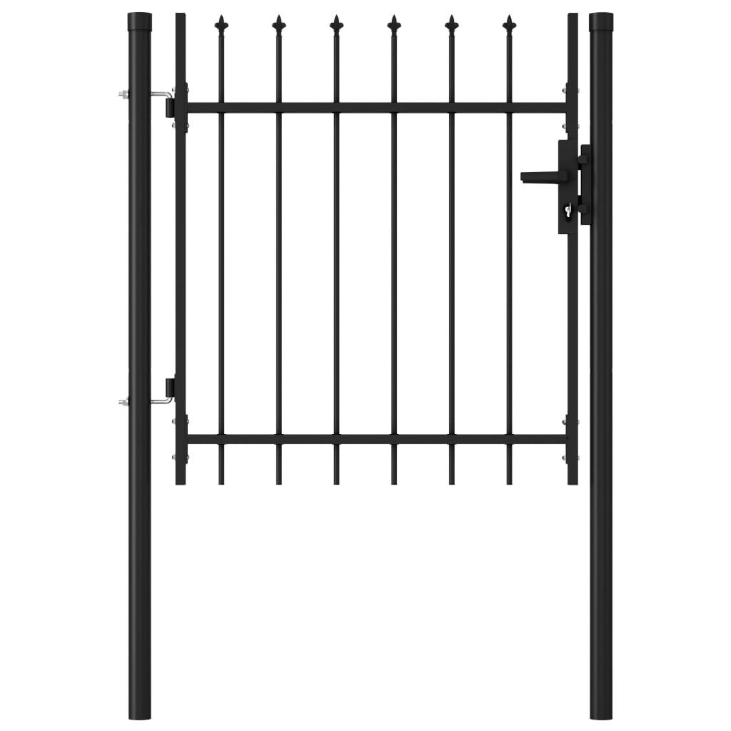 vidaXL Poartă de gard cu o ușă, vârf ascuțit, negru, 1 x 1 m, oțel poza vidaxl.ro