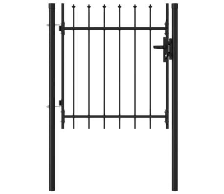 vidaXL Fence Gate Single Door with Spike Top Steel 1x1 m Black
