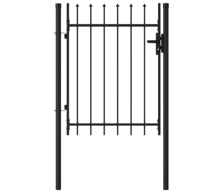 vidaXL Poort met puntige bovenkant enkel 1x1,2 m staal zwart