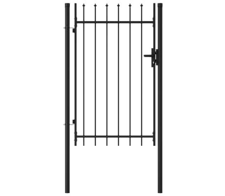 vidaXL Fence Gate Single Door with Spike Top Steel 1x1.5 m Black