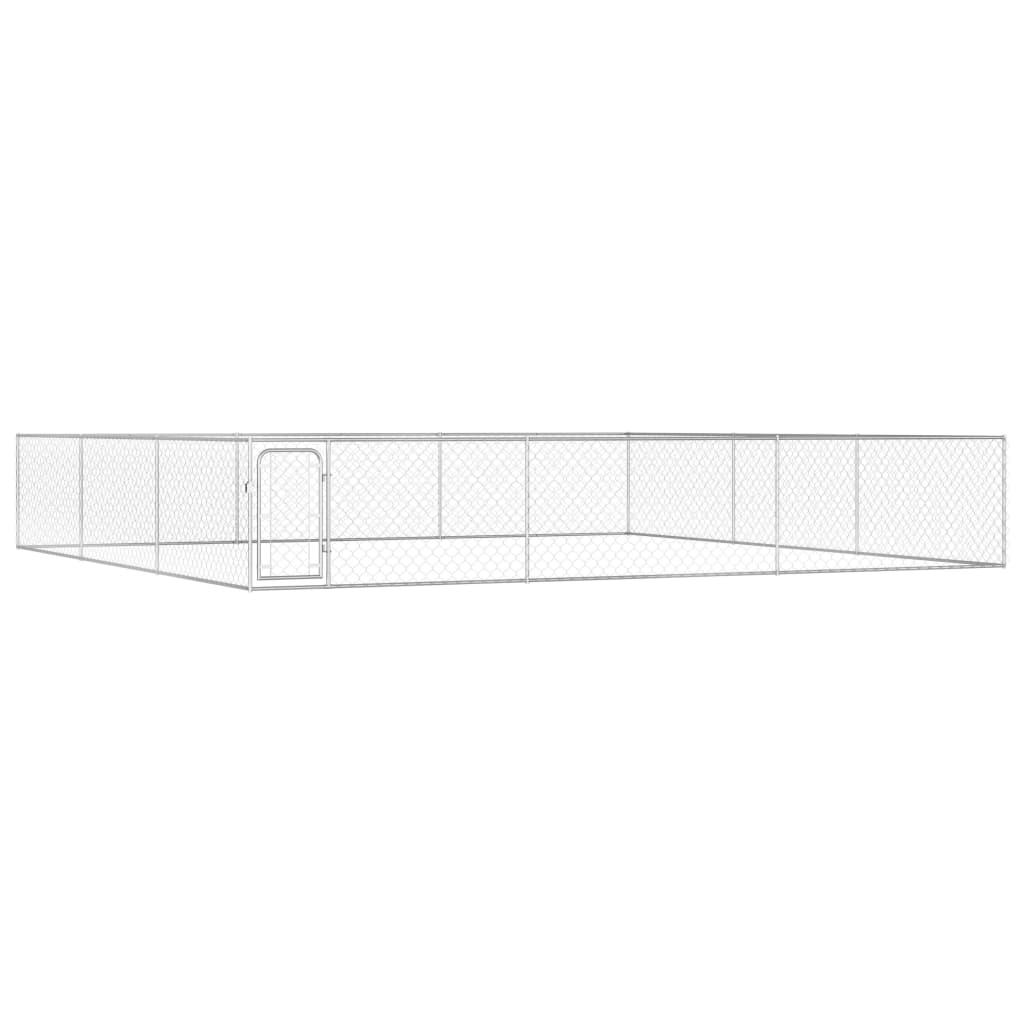 vidaXL Padoc de exterior pentru câini, 6 x 6 x 1 m, oțel galvanizat imagine vidaxl.ro