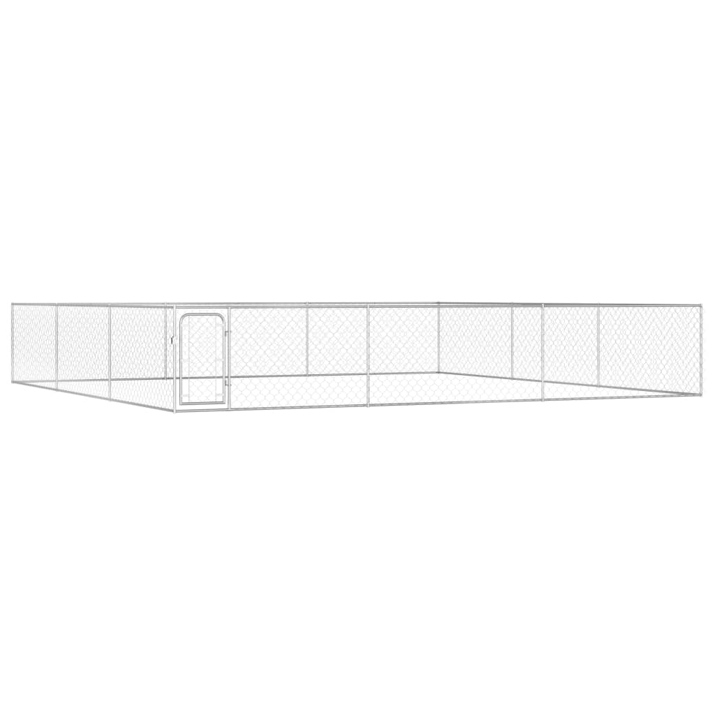 vidaXL Padoc de exterior pentru câini, 6 x 6 x 1 m, oțel galvanizat poza vidaxl.ro