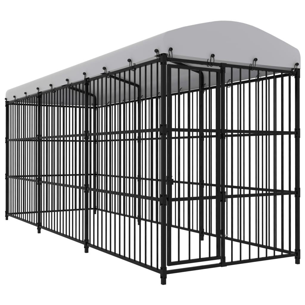 vidaXL Padoc pentru câini de exterior, cu acoperiș, 450 x 150 x 210 cm imagine vidaxl.ro