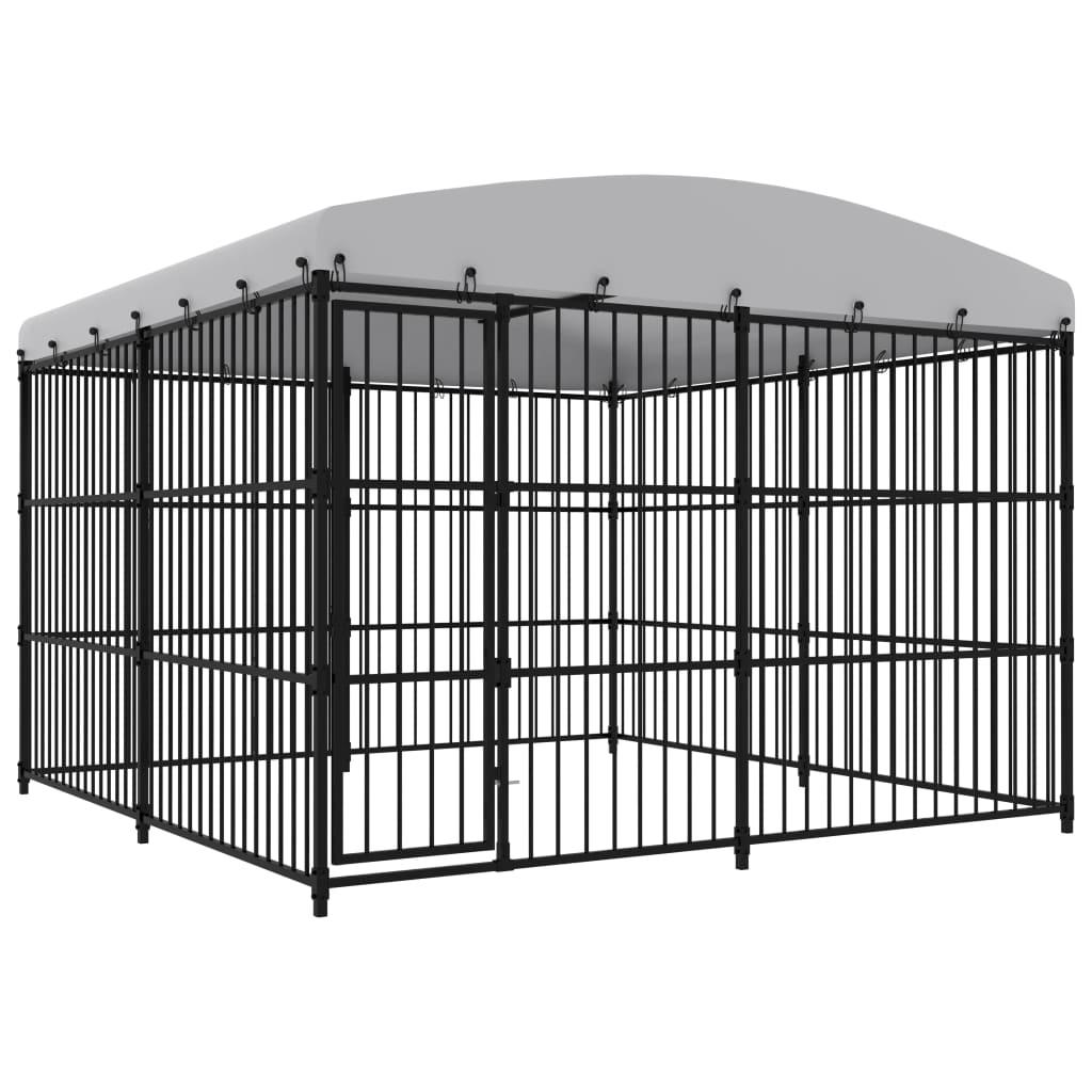 vidaXL Padoc pentru câini de exterior, cu acoperiș, 300 x 300 x 210 cm imagine vidaxl.ro