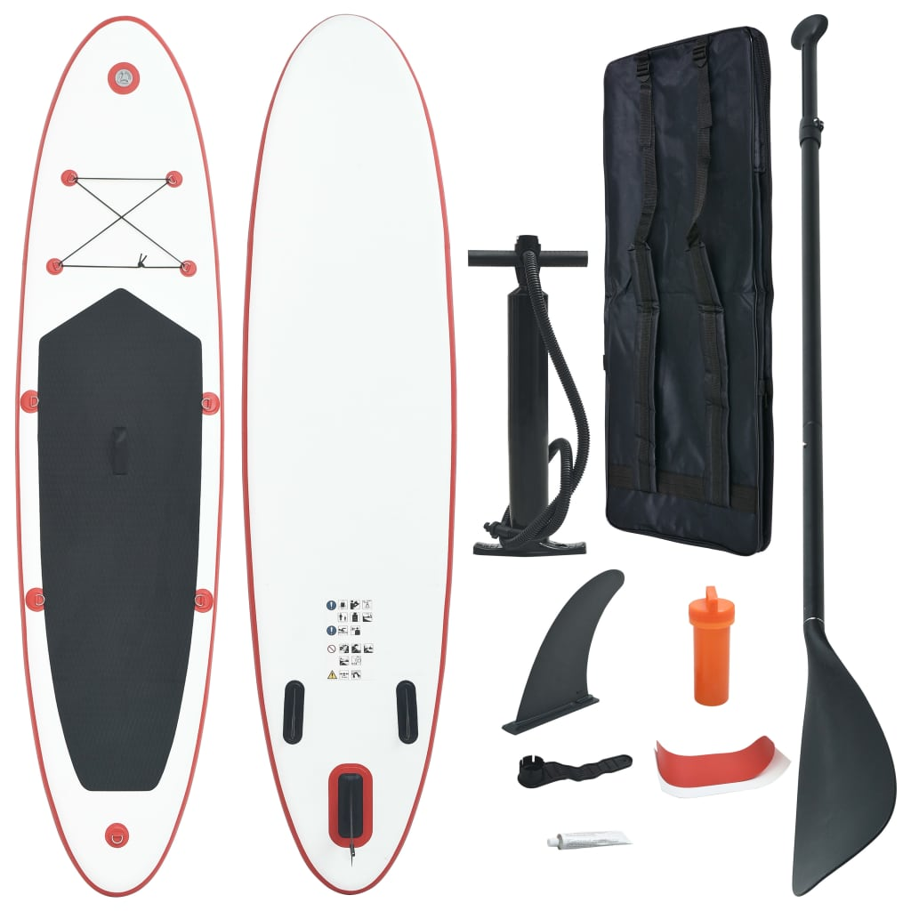 vidaXL Set placă stand up paddle SUP surf gonflabilă, roșu și alb imagine vidaxl.ro