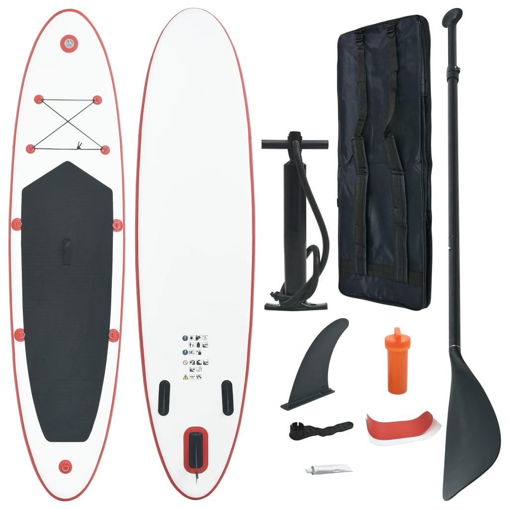 vidaXL Set placă stand up paddle SUP surf gonflabilă, roșu și alb imagine vidaxl.ro