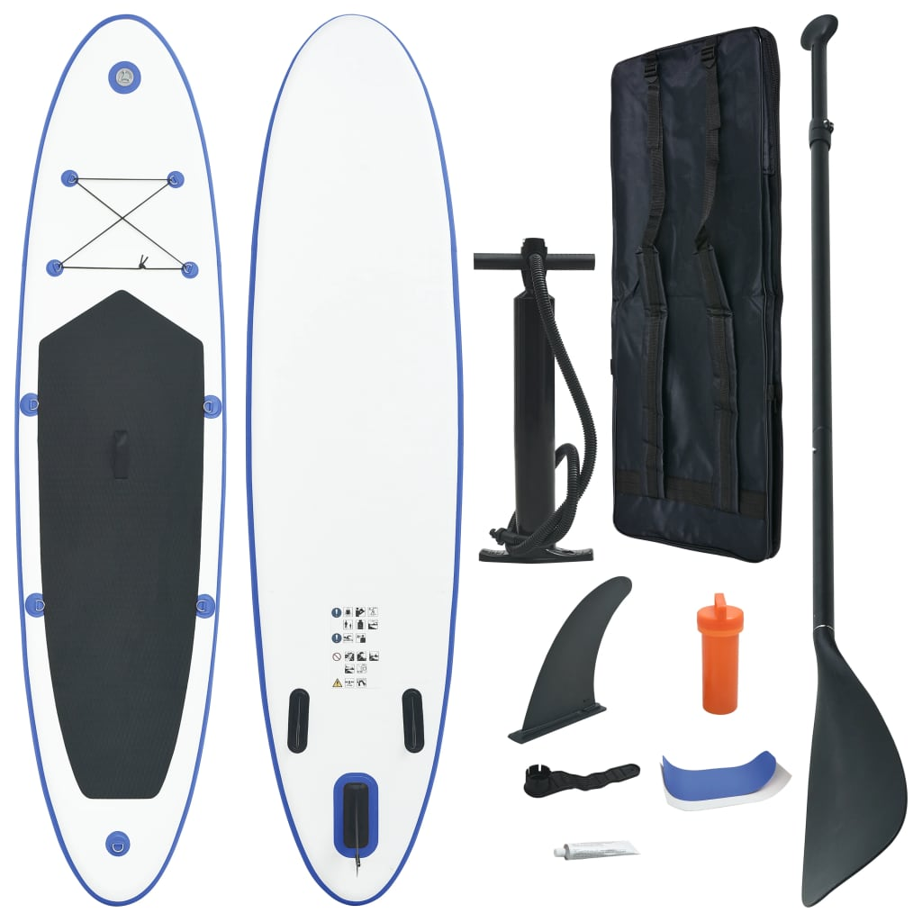 vidaXL Set placă stand up paddle SUP surf gonflabilă, albastru și alb imagine vidaxl.ro