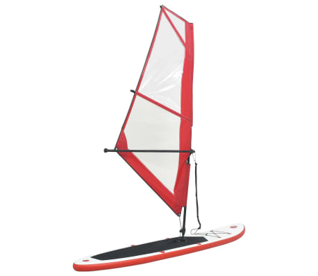 vidaXL Inflatable Stand Up Paddleboard with Sail Set Red and White