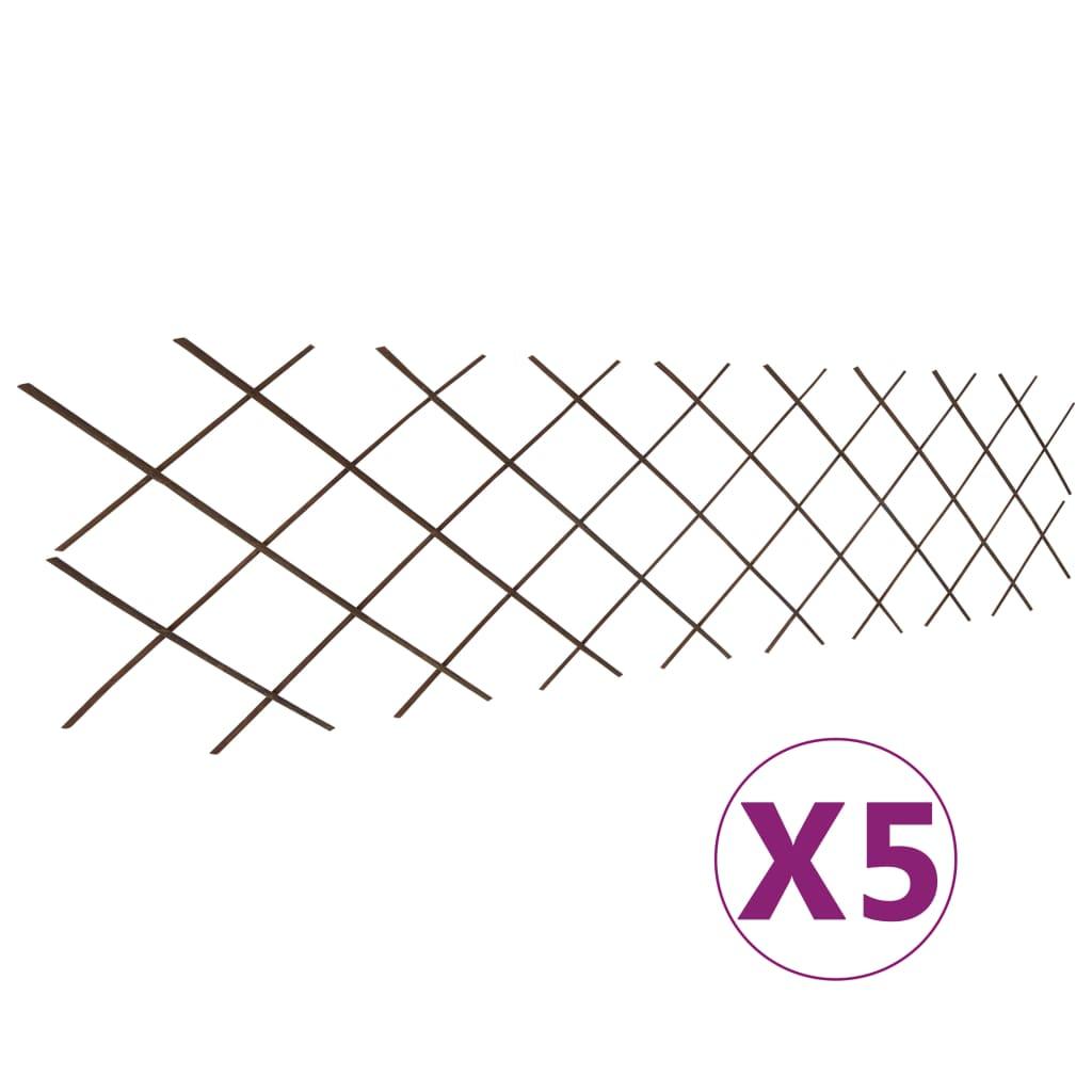 vidaXL Gard cu zăbrele, 5 buc.,180 x 60 cm, salcie vidaxl.ro