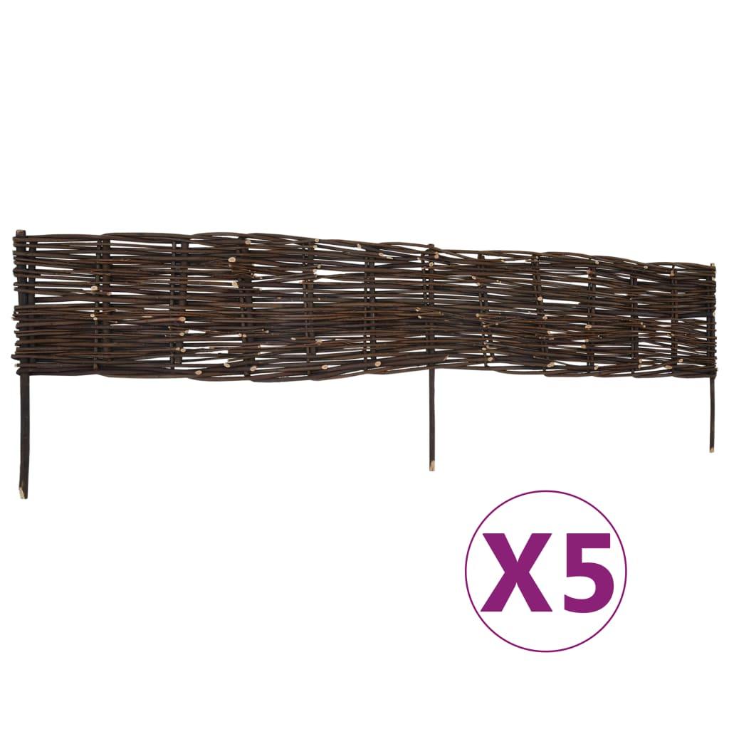 vidaXL Garduri de grădină borduri, 5 buc., 120 x 35 cm, salcie imagine vidaxl.ro