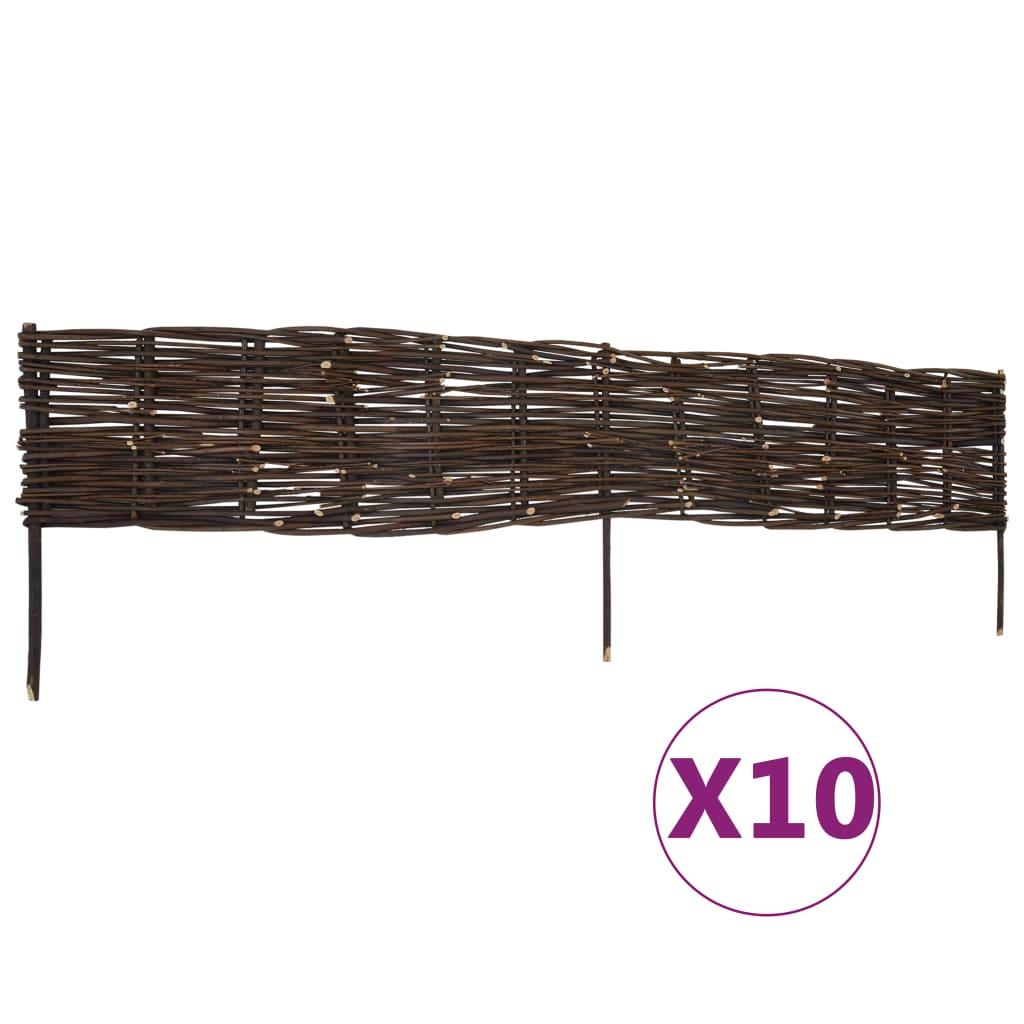 vidaXL Garduri de bordură pentru grădină, 10 buc., 120x35 cm, salcie imagine vidaxl.ro