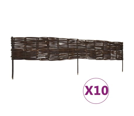 vidaXL Panneaux de limite de jardin Saule 10 pcs 120x35 cm