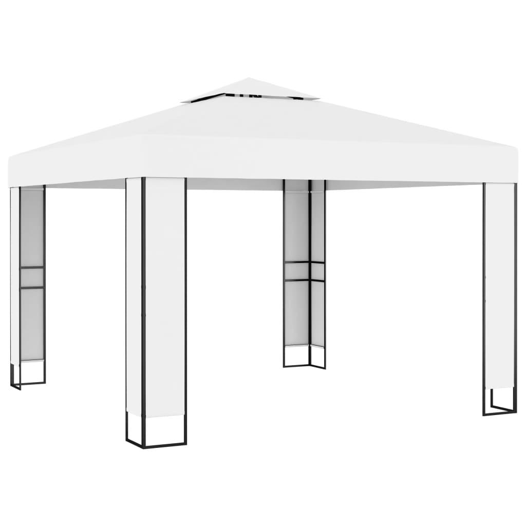 vidaXL Pavilion cu acoperiș dublu, alb, 3 x 3 m poza vidaxl.ro