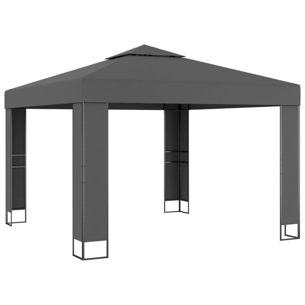 vidaXL Κιόσκι με Διπλή Οροφή Ανθρακί 3 x 3 μ.