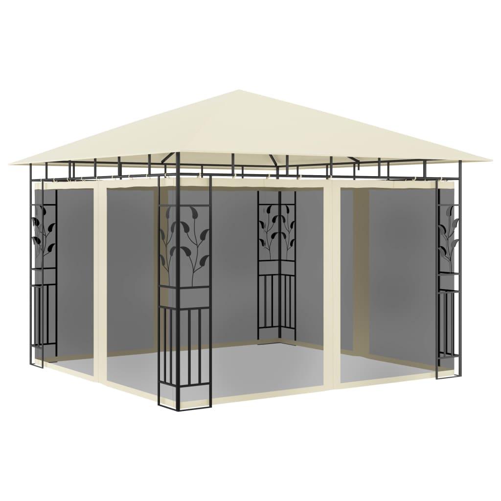 vidaXL Pavilion cu plasă anti-țânțari, crem, 3x3x2,73 m, 180 g/m² imagine vidaxl.ro