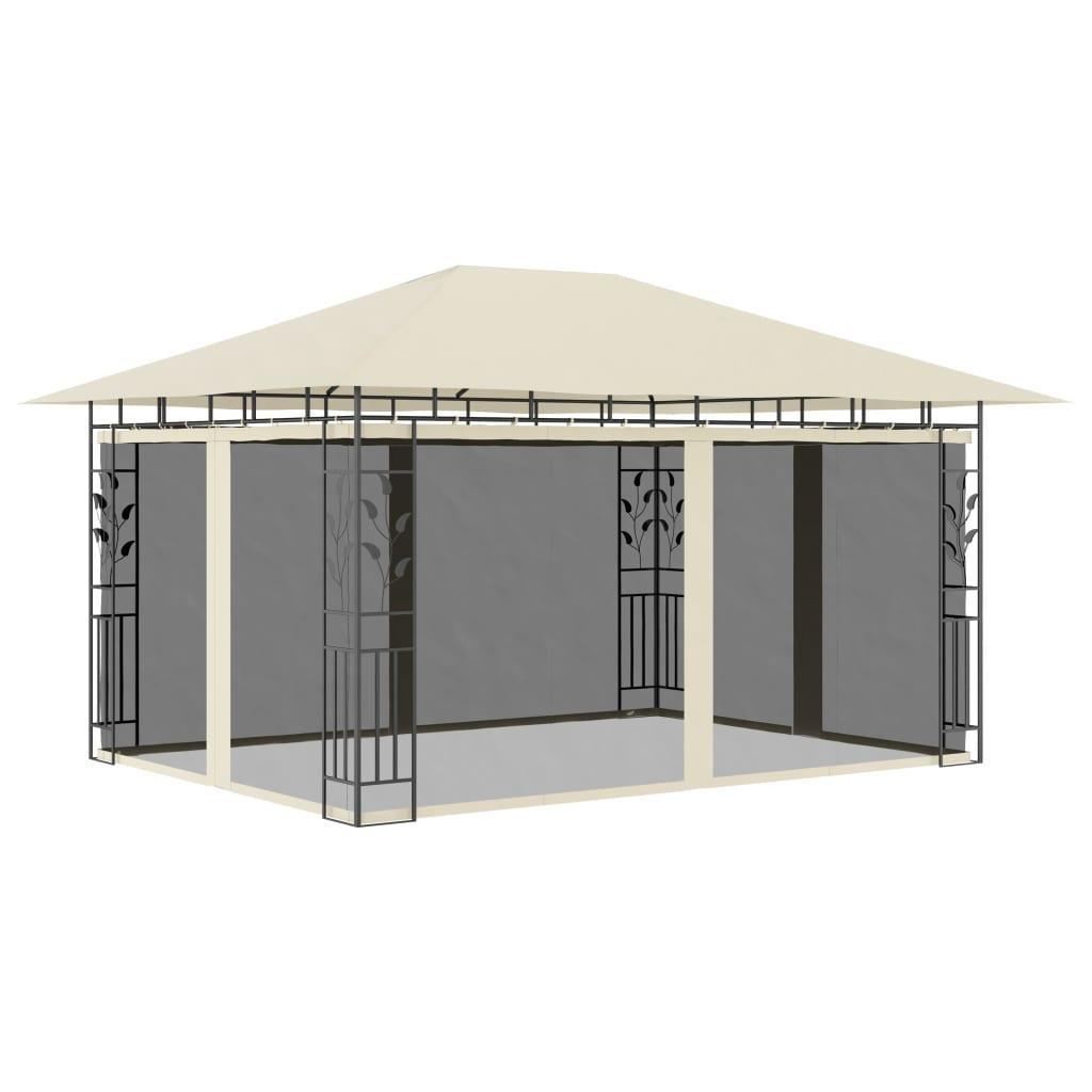 vidaXL Pavilion cu plasă anti-țânțari, crem, 4x3x2,73 m, 180 g/m² imagine vidaxl.ro