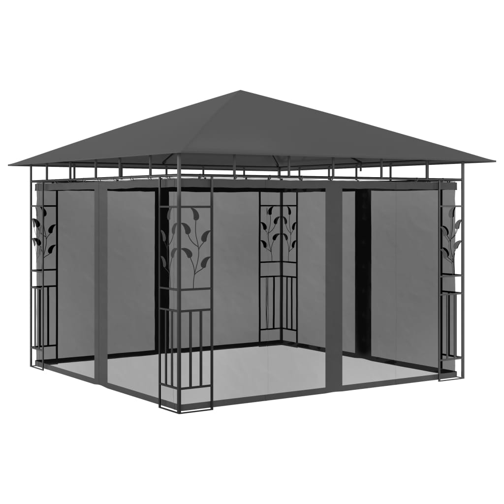 vidaXL Altana ogrodowa z moskitierą, 3x3x2,73 m, antracytowa, 180 g/m²