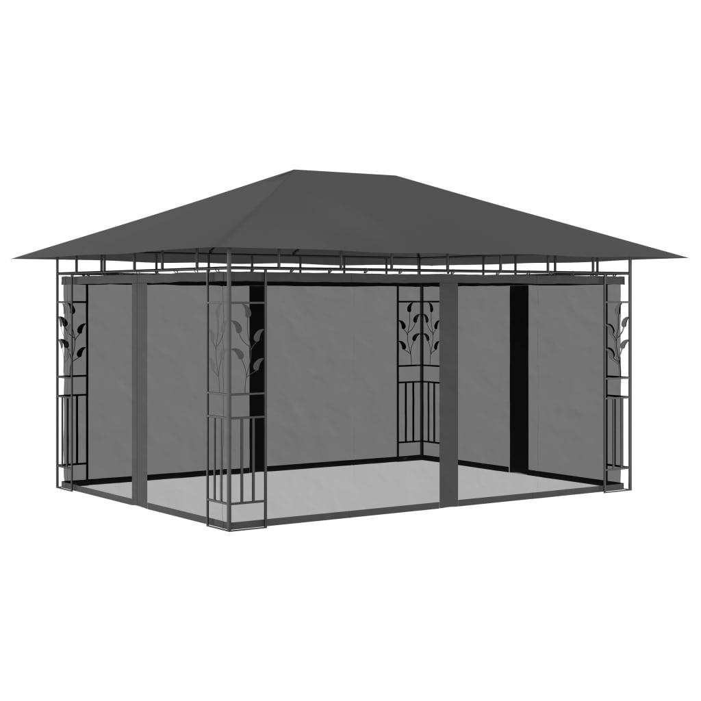 vidaXL Pavilion cu plasă anti-țânțari, antracit, 4 x 3 x 2,73 m poza vidaxl.ro