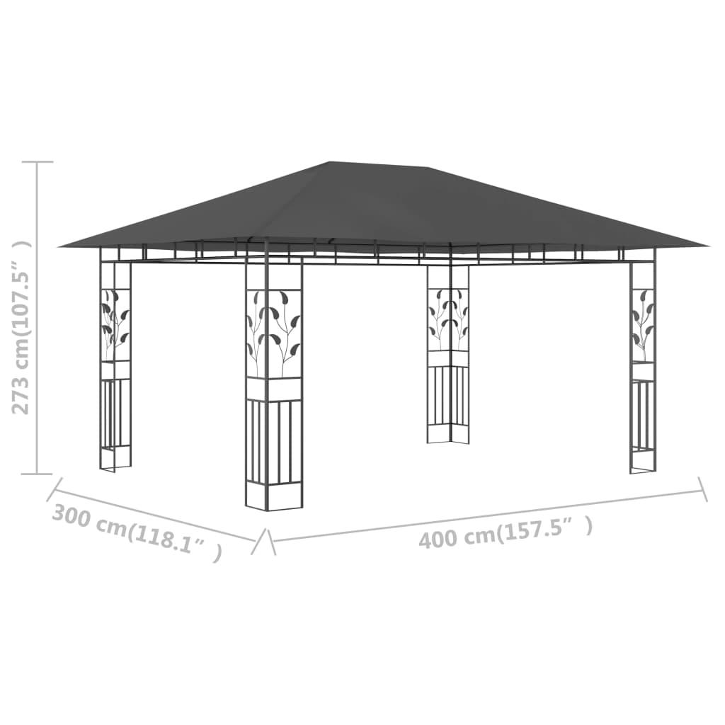 Prieel met klamboe 180 g/m² 4x3x2,73 m antraciet