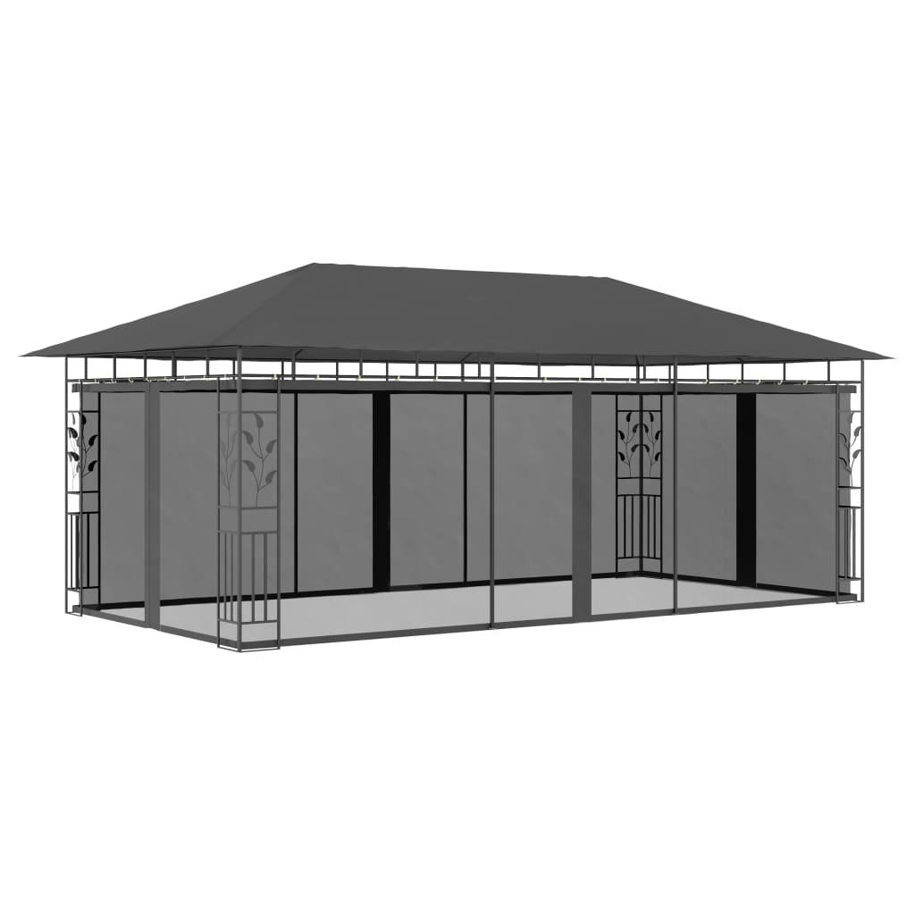 vidaXL Pavilion cu plasă anti-țânțari, antracit, 6 x 3 x 2,73 m poza vidaxl.ro