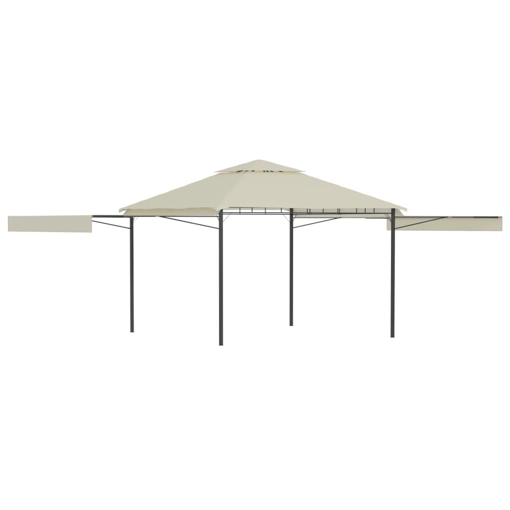 vidaXL Pavilion cu acoperiș dublu extins, 3x3x2,75 m, crem, 180 g/m² poza vidaxl.ro