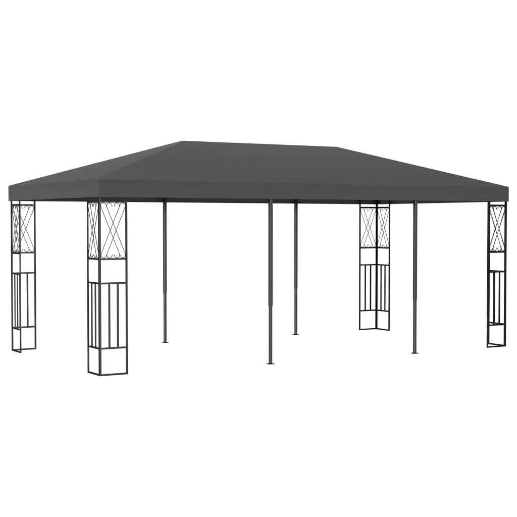 <ul><li>Farbe: Anthrazit</li><li>Material: Stoff (100% Polyester), Stahl</li><li>Abmessungen: 6 x 3 x 2,6 m (L × B × H)</li><li>Baldachin mit PA-Beschichtung</li><li>Rahmen mit dekorativen Verzierungen</li><li>Montage erforderlich: Ja</li></ul>