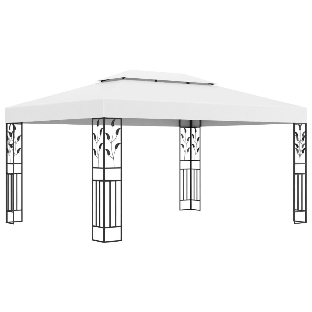 vidaXL Pavilion cu acoperiș dublu, alb, 3 x 4 m poza vidaxl.ro