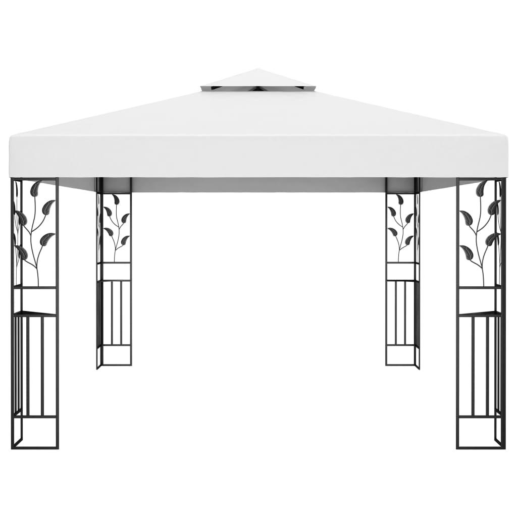 Prieel met dubbel dak 3x4 m wit