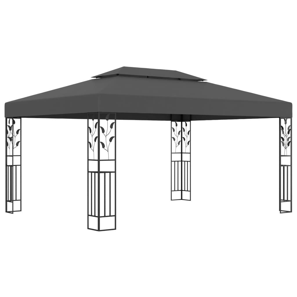 vidaXL Pavilion cu acoperiș dublu, antracit, 3 x 4 m poza 2021 vidaXL