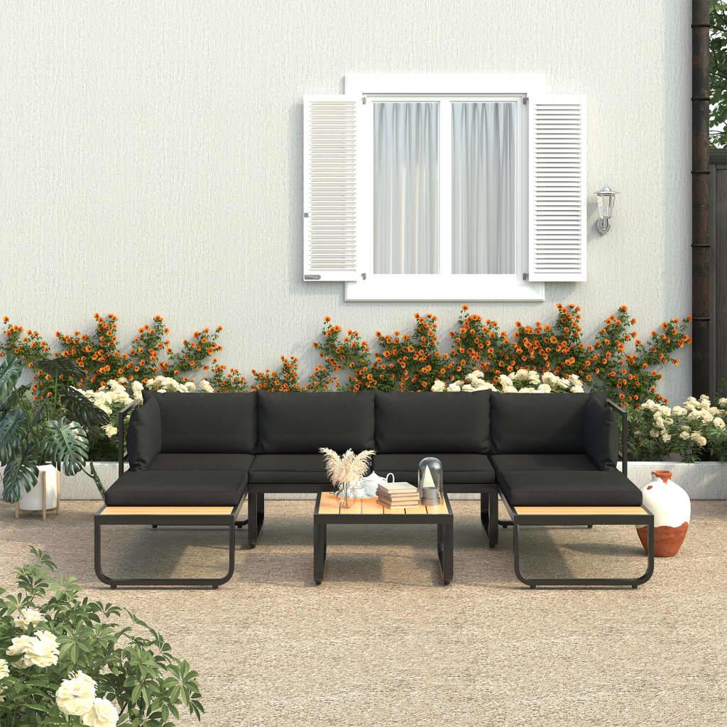 4dílná zahradní rohová sedací souprava s poduškami hliník a WPC