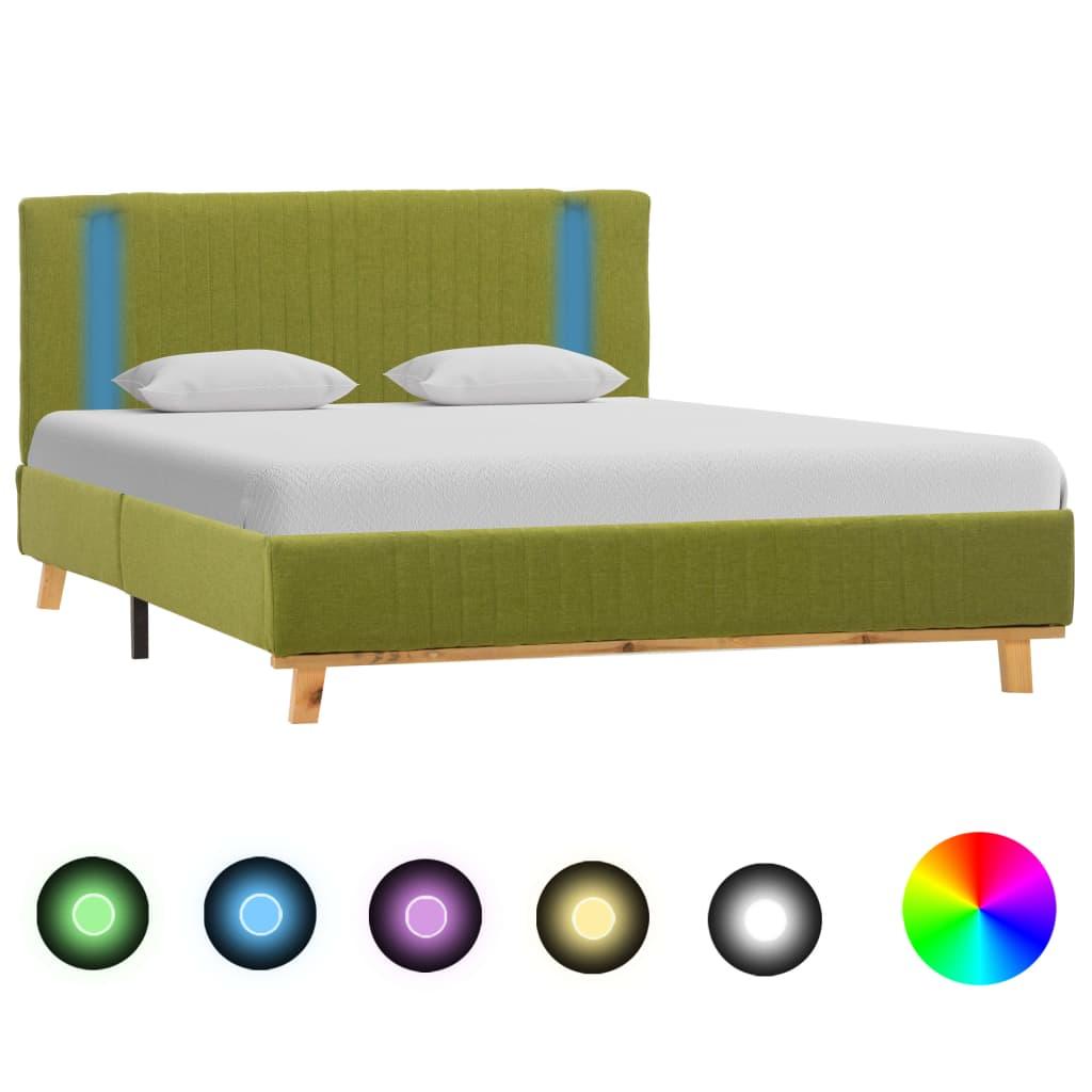 vidaXL sengestel med LED 120 x 200 cm stof grøn