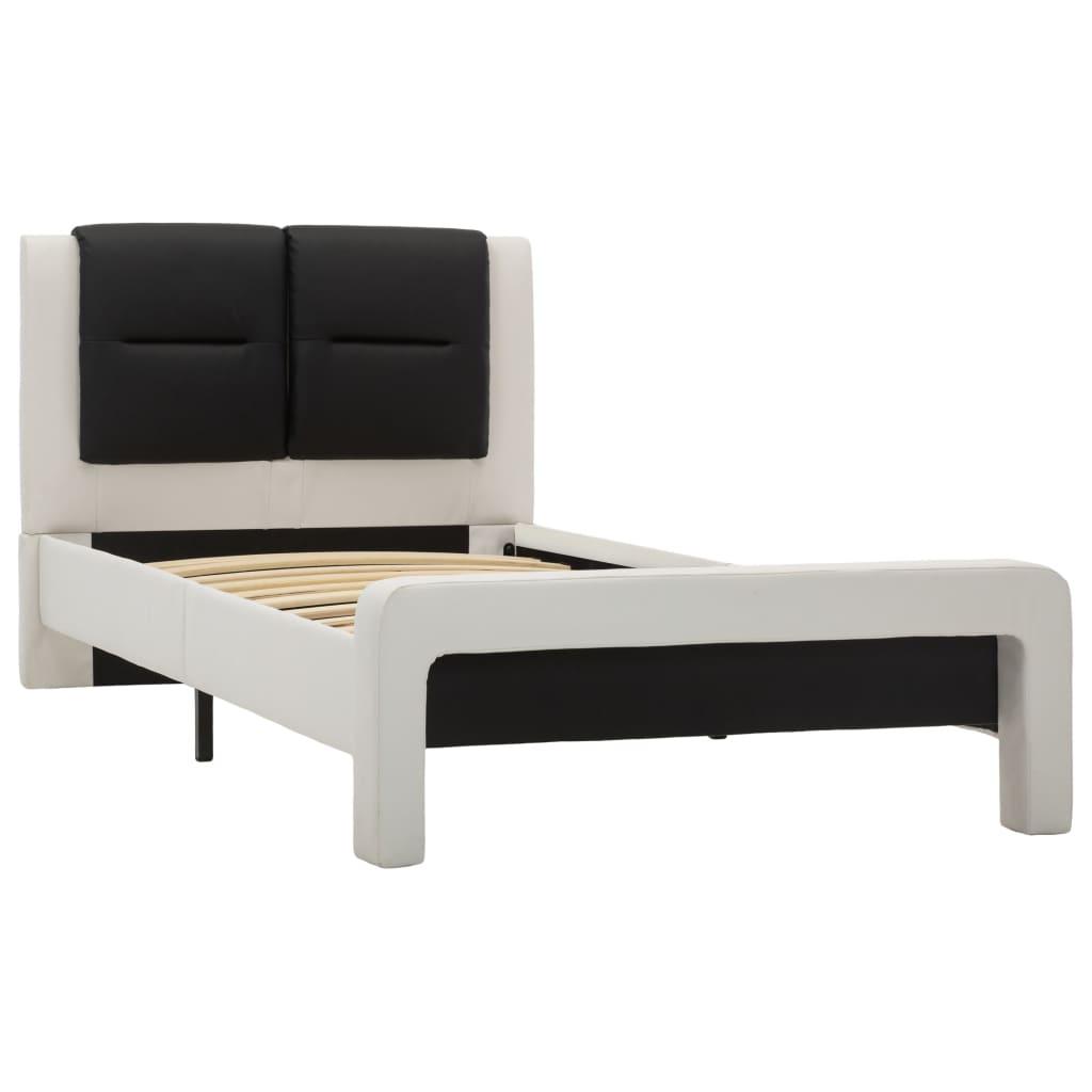 Bedframe kunstleer wit en zwart 90x200 cm