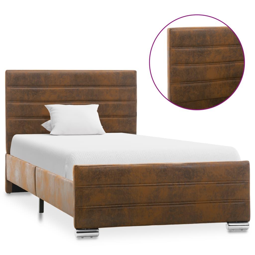 vidaXL Cadru de pat, maro, 90 x 200 cm, piele întoarsă ecologică imagine vidaxl.ro