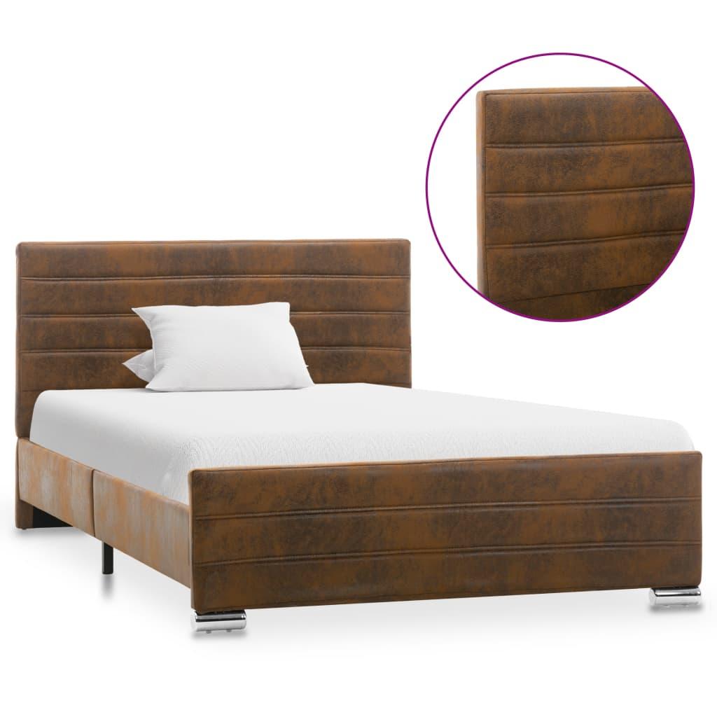 vidaXL Cadru de pat, maro, 120 x 200 cm, piele întoarsă ecologică imagine vidaxl.ro