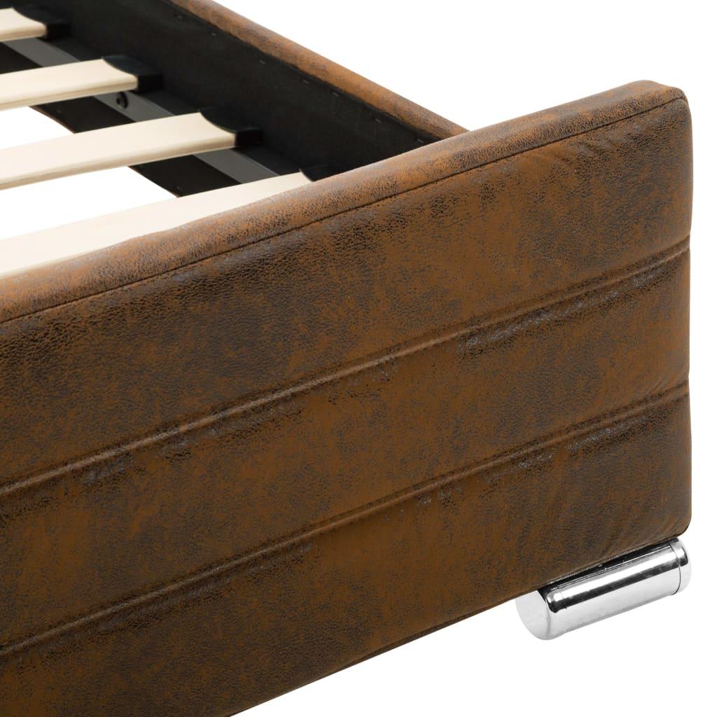 vidaXL Bedframe kunstsuède bruin 140x200 cm