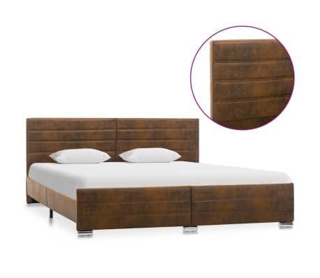 vidaXL Cadru de pat, maro, 180 x 200 cm, velur ecologic