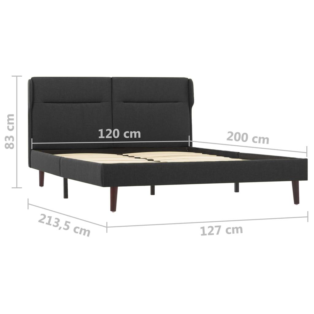 vidaXL Bedframe met LED stof donkergrijs 120x200 cm