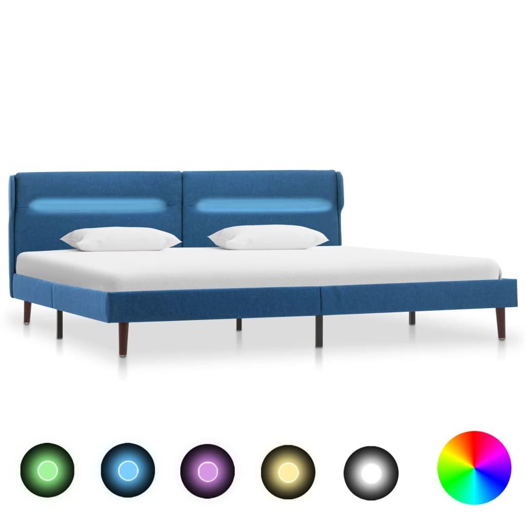 vidaXL Cadru de pat cu LED-uri, albastru, 140x200 cm, material textil poza vidaxl.ro