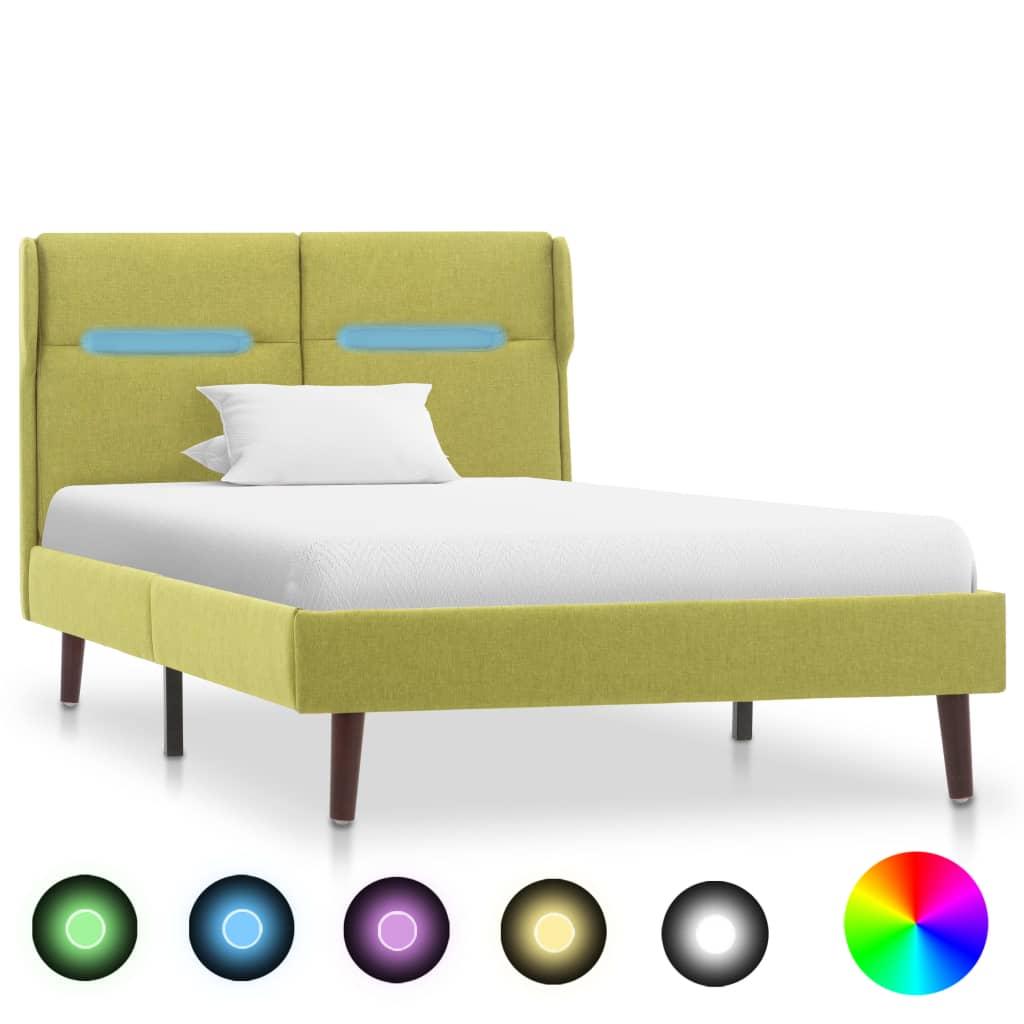 vidaXL Bedframe met LED stof groen 100x200 cm