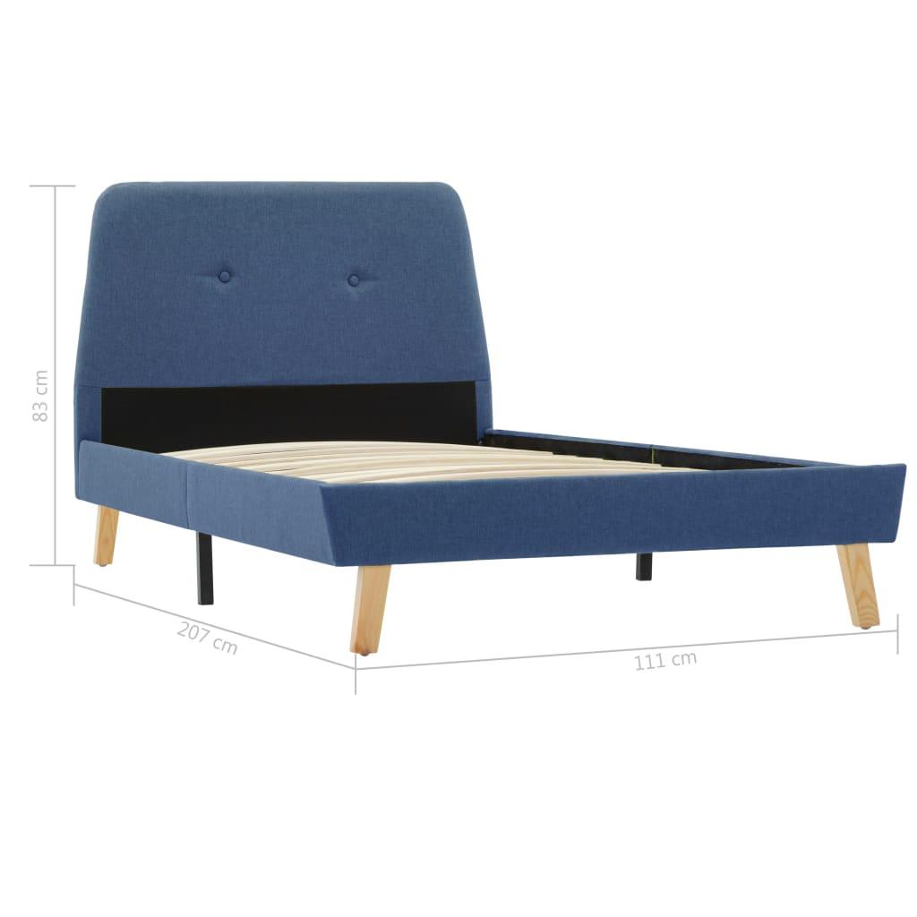 vidaXL Bedframe stof blauw 100x200 cm
